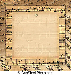 Framework for invitations. Grunge background. A music book.