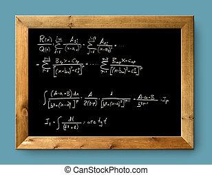 tabla, negro, pizarra, difícil, fórmula, matemáticas