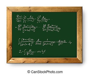 board green blackboard difficult mathematical formula -...