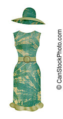 Dress and bonnet in style of the retro (isolated from the...