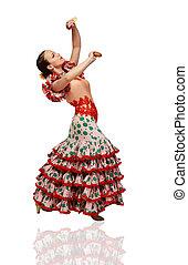 jeune, femme, danse, flamenco, Castagnettes