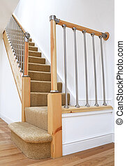 Typical UK British Stairs with Chrome Railing - Modern House...