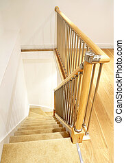 Modern House Interior - Stairs with Chrome Railing - Modern...