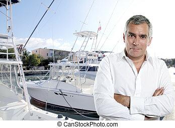 captain fisherman boat senior expertise deep fishing marina...