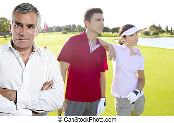 Golf senior golfer man portrait in green couse outdoor