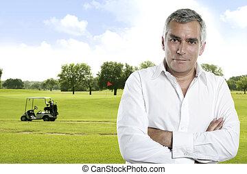Draußen, golfen,  couse, grün, Porträt, Älter, golfspieler, Mann