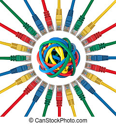 Ethernet cable plugs pointing to a ball of colored cables -...