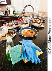 plato, lavado, limpieza, Suministros