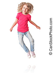 Happy jumping girl with heels together