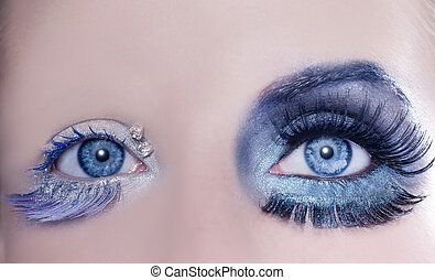 asymmetrical blue eyes makeup macro closeup silver winter...
