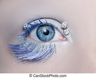 Blue eye macro closeup winter makeup jewels diamonds silver...