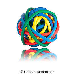 Ball of Brightly Multi Colored Network Cables with...