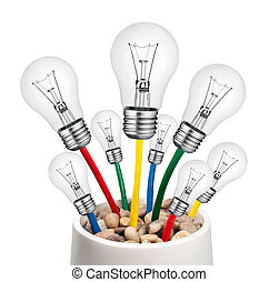 Alternative Ideas - Lightbulbs with Cables Growing in a Pot