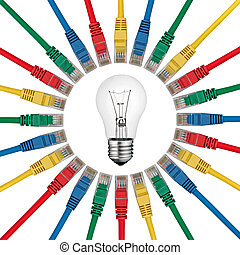 IT Solutions - Lightbulb in centre of colored network cables...