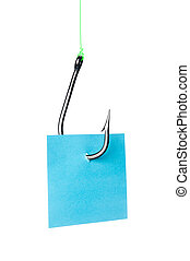 Note snagged on fish hook - A blue stocky note with room for...