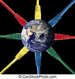Colored Network Cables connected to the Earth Globe -...