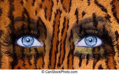 azul, Moda, Maquillaje, ojos, Leopardo, jaguar, piel,...