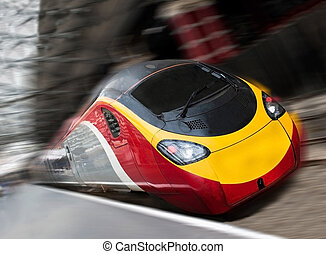 Fast Passenger Speed Train with Motion Blur - Modern Fast...