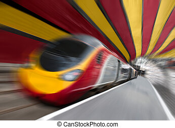 Fast Passenger Speed Train in Tunnel with Zoom Blur - Motion...