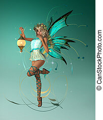 The Turquois Pixie - A graceful fairy with wings, wreath and...