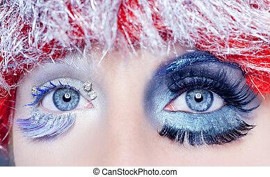 navidad, concepto, ojo, Maquillaje, invierno, rojo, plata,...