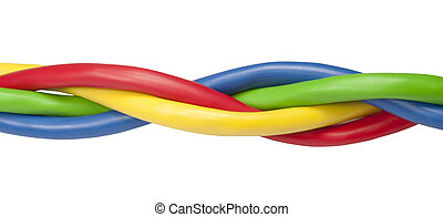 Brightly coloured ethernet network cables twisted