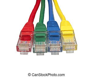 Set of four brightly multi coloured ethernet network plugs -...