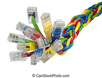 Closeup on bunch of multi coloured ethernet network cables -...