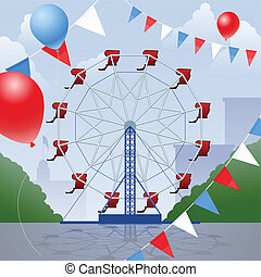 Ferris wheel with decorative penants and balloons