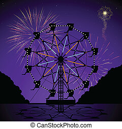 Ferris wheel at night with fireworks display