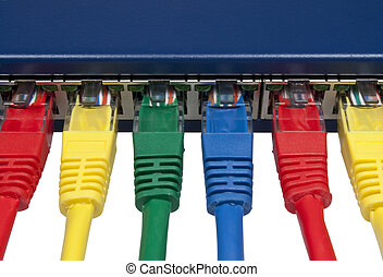 Rainbow colored computer network plugs connected to a router...