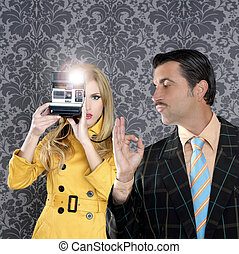 geek mustache man reporter fashion girl photo shoot - geek...
