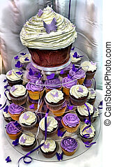 HDR Wedding Cake - Purple and White Chocolate Cupcakes - HDR...