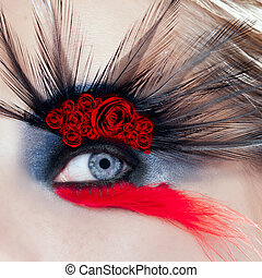 black bird woman eye makeup macro red roses - black bird...