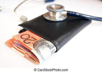 Money and australian currency - Rising medical cost