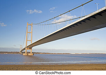 Large suspension bridge over a river - Large suspension...