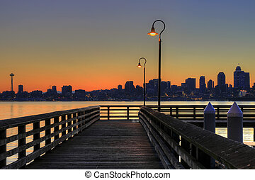Seattle Skyline from the Pier at Sunrise