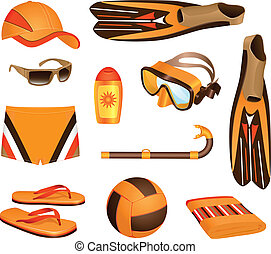 Beach accessories for man - Colorful set of beach...