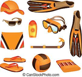 playa, accesorios, hombre