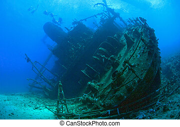 Stern section of a large underwater shipwreck - The stern...