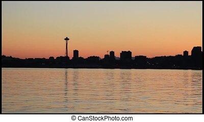 Seattle Skyline Sunrise Panorama - Seattle Washington...