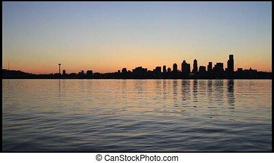 Seattle Skyline Sunrise - Seattle Washington Skyline Sunrise...