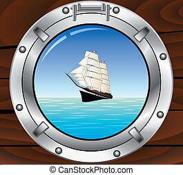 metal porthole and tallship in the ocean - vector travel...