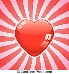 vector red heart on retro background