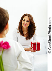 Happy mother?s day! - Happy woman with giftbox looking at...