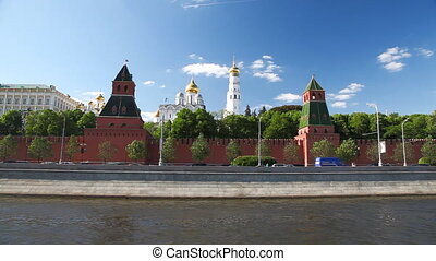 Travel along Kremlin - View to Kremlin wall from the boat