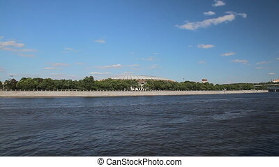 Travel along river bank in Moscow - View to Luzhniki stadium...