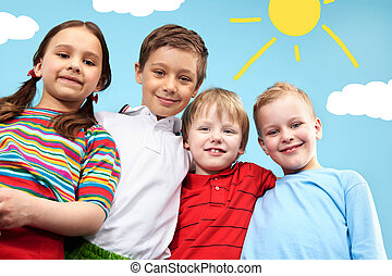 Group of friends - Group of adorable kids looking at camera...