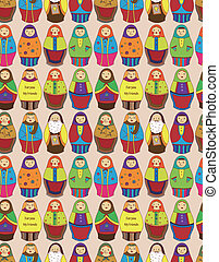 seamless Russian doll pattern