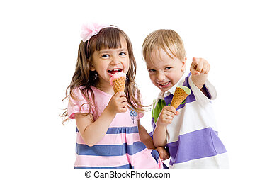 happy children twins girl and boy with ice cream in studio